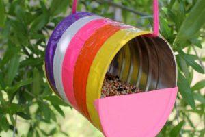 recycled can bird feeder school craft